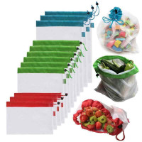 Многоразовые сетчатые сумки для покупок, хранения фруктов и овощей, 3 шт