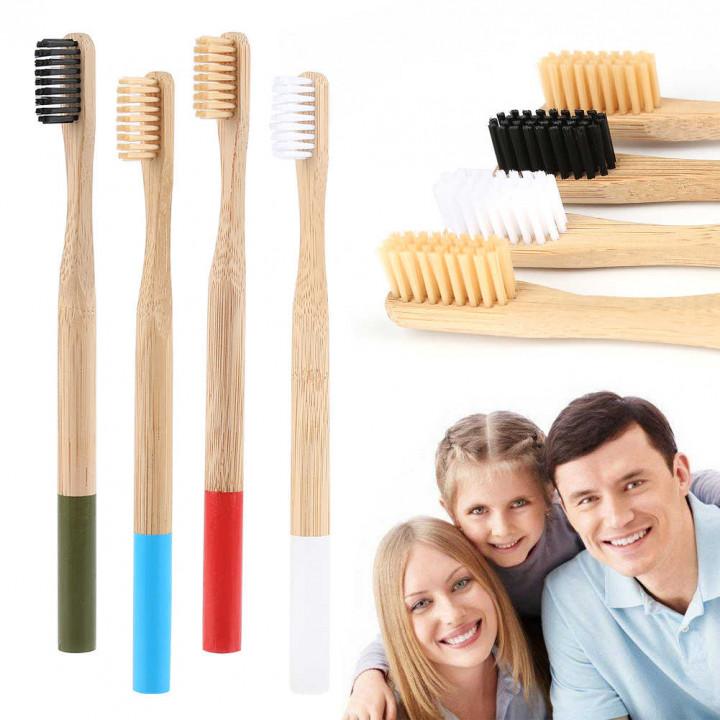 Бамбуковая зубная щетка мягкая, зеленая