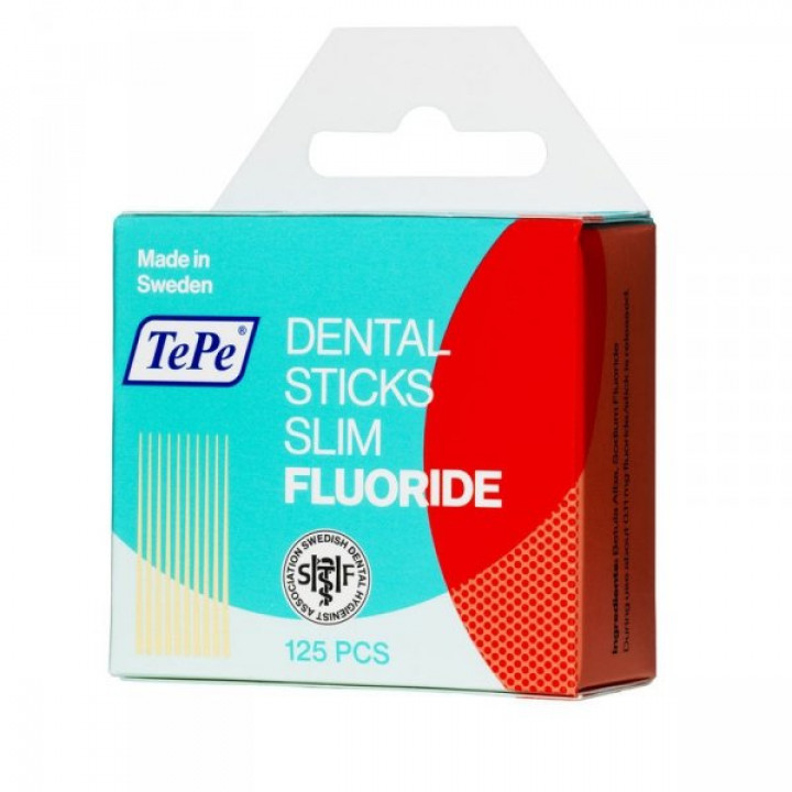 TePe Dental Sticks Slim тонкие березовые зубочистки, обогащенные фтором. 125 шт.